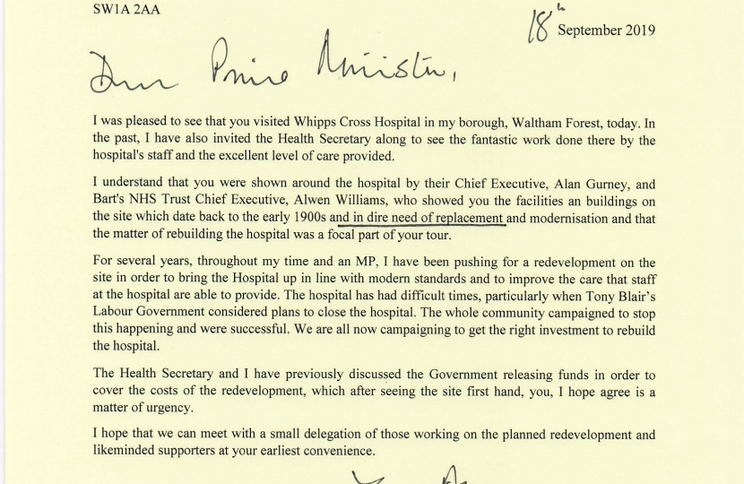 Letter to the Prime Minister asking for £400 million funding